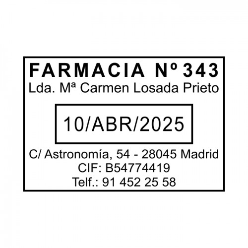 sello fechador farmacia